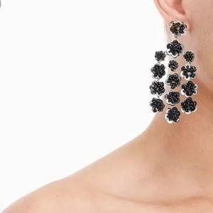 Floral Sequin Chandelier Gold Black White Earrings